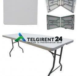 Kokkupandav laud 183cm laadalaud klapplaud plastik kokkuklapitav laud