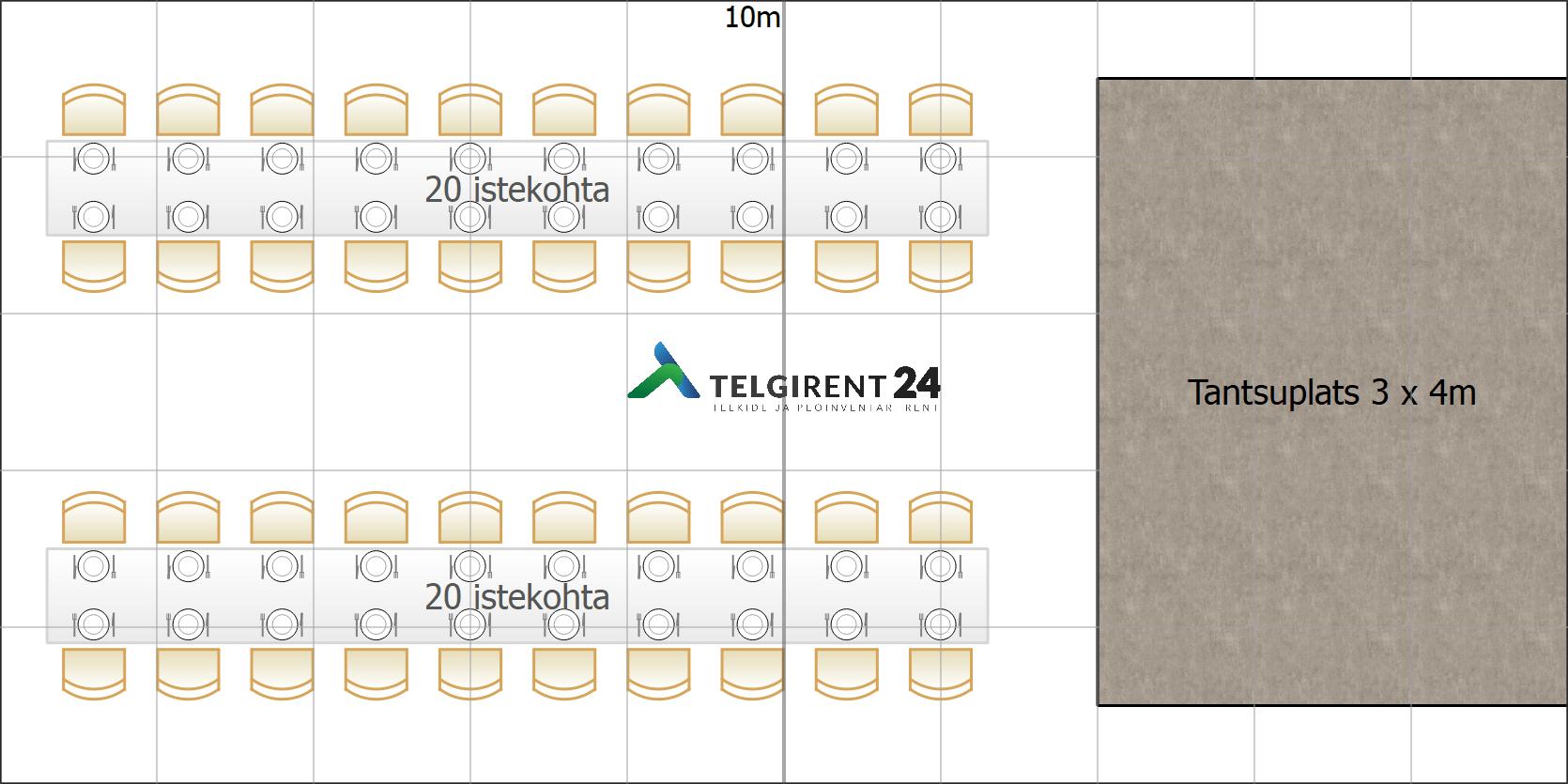 Peotelk 5 x 10m (40 inimest + tantsuplats)