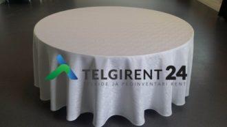 Laudlina 180 cm lauale valge ümarlauale laudlina lauakatete rent peoinventari rent