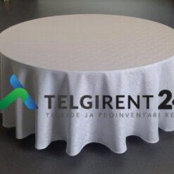 Laudlina 320cm valge ümmargune laudlina lauakatete rent peoinventari rent valge laudlina 320cm ümmargune