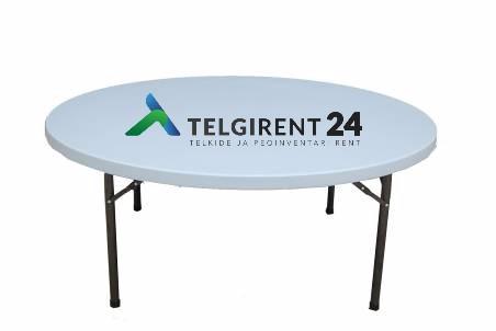 Ümmargune laud 180 cm ümarlaud 180 laudade rent 180 klapplaud 180cm peoinventari rent ümmarguse laua rent 180