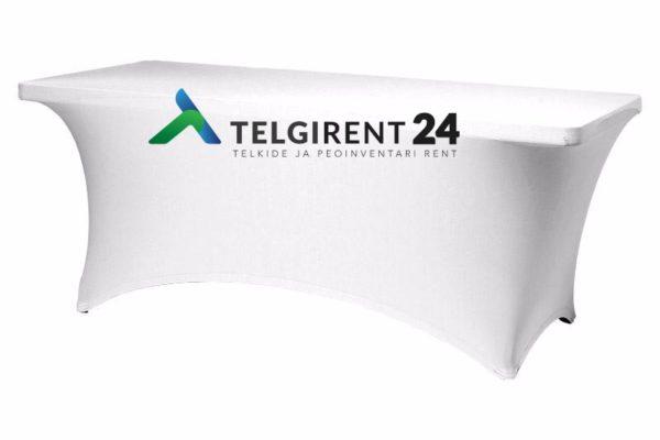 Valkoinen pöytäliina ''stretch'' 183cm pitkälle pöytälle Valkoinen pöytäliina ''stretch'' 180cm pitkälle pöytälle liina